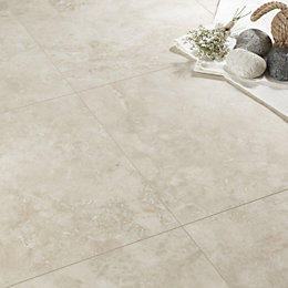 Tila Cream Travertine Tile Effect Laminate Flooring 1