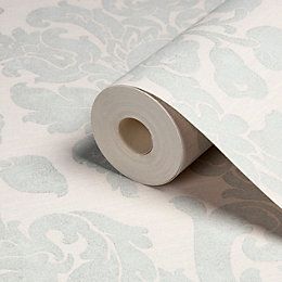 Kensington Cream & Pearl Blue Damask Wallpaper