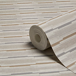 Grandeco Linear Brown Geometric Stripe Wallpaper