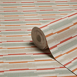 Grandeco Linear Orange Geometric Stripe Wallpaper