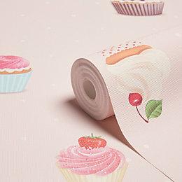 Grandeco Cupcakes Pink Wallpaper