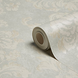 Grandeco Decadent Blue Fresco Trail Metallic Effect Wallpaper
