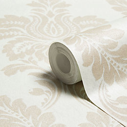 Grandeco Majestic Duck Egg Damask Glitter Effect Wallpaper