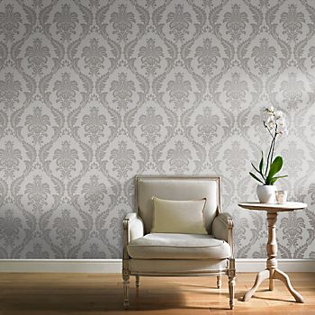 Grandeco majestic grey damask glitter effect wallpaper