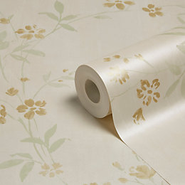 Grandeco Prestige Neutral Blossom Mica Wallpaper