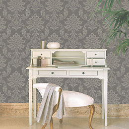 Etch Charcoal & Gold Damask Metallic Effect Wallpaper