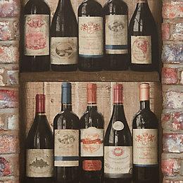 Grandeco Ideco Home Brick Wine Bottles Wallpaper