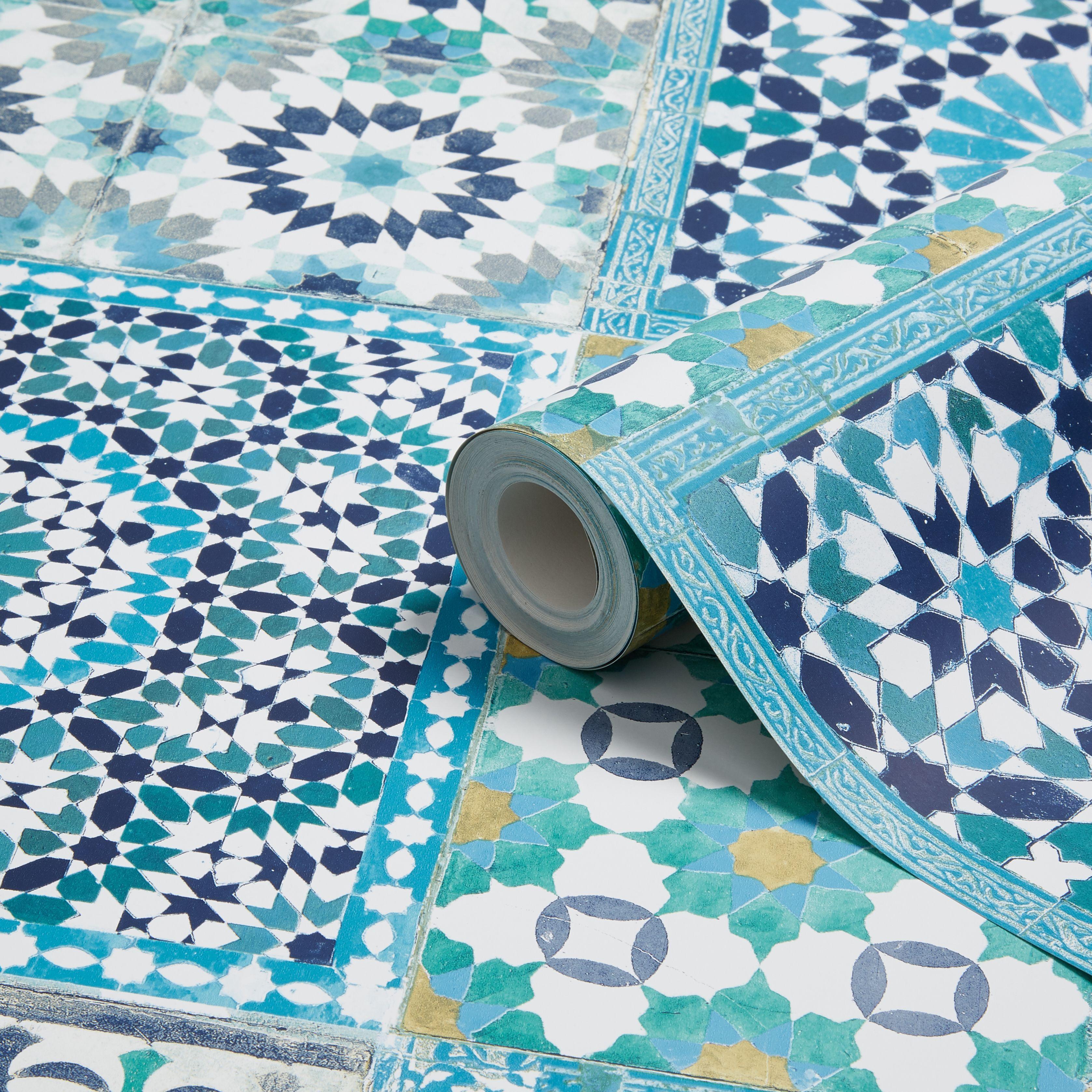 Grandeco Sapphira Blue Mosaic Tile Wallpaper Departments