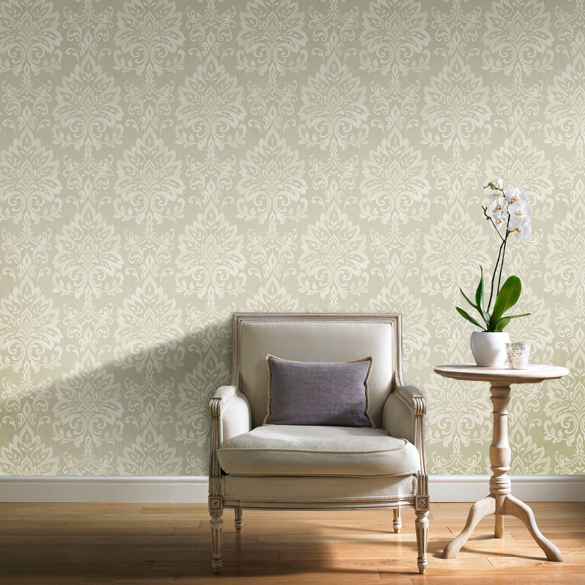 Opulence green damask glitter effect wallpaper for Wallpaper homebase green