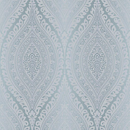Kismet Blue Damask Glitter Effect Wallpaper