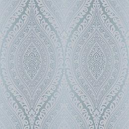 Kismet Blue Damask Glitter Effect Wallpaper