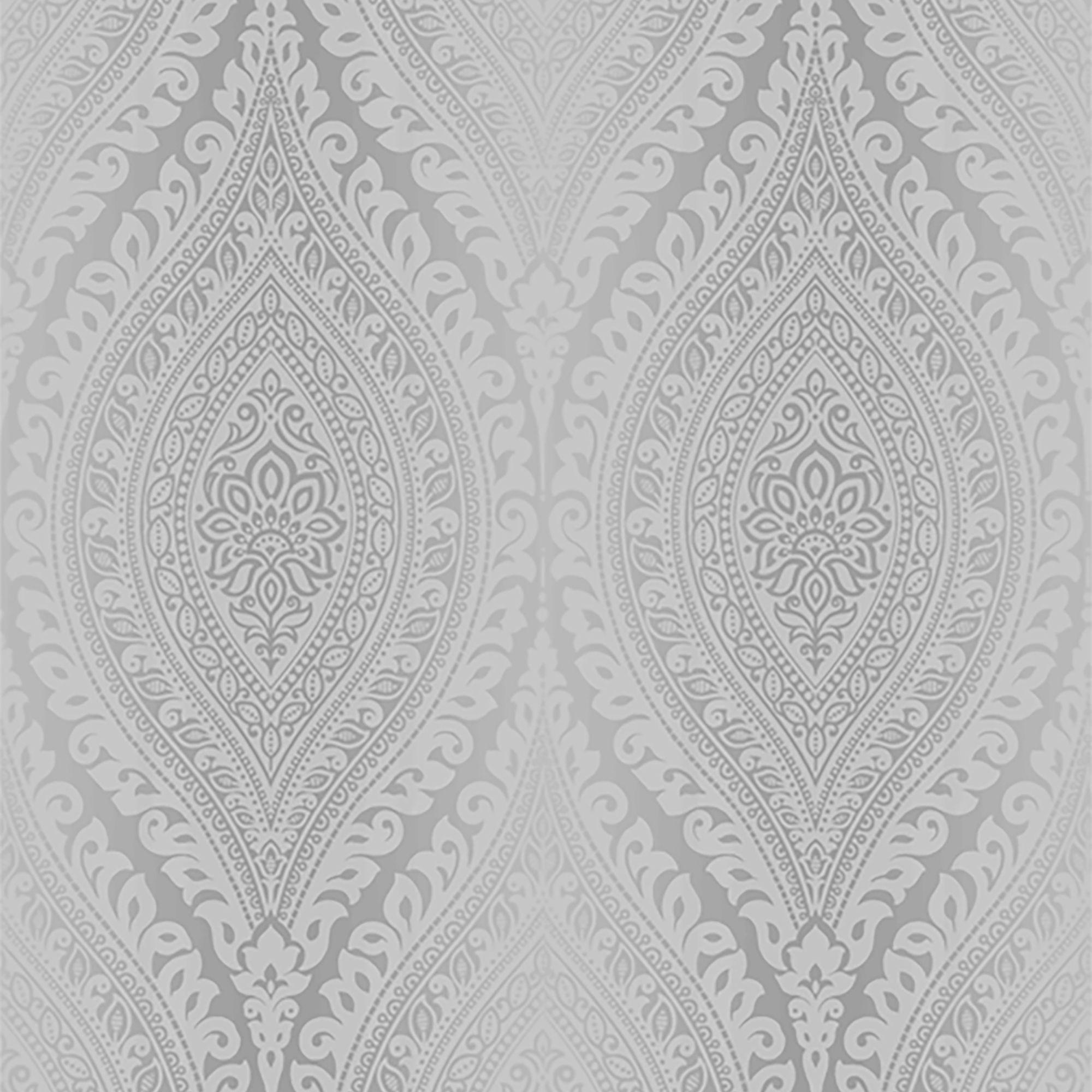 Gold Kismet Silver Damask Glitter Effect Wallpaper