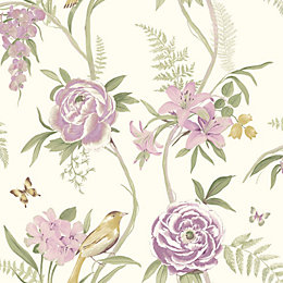 Kew Cream & Lilac Floral Flat Wallpaper