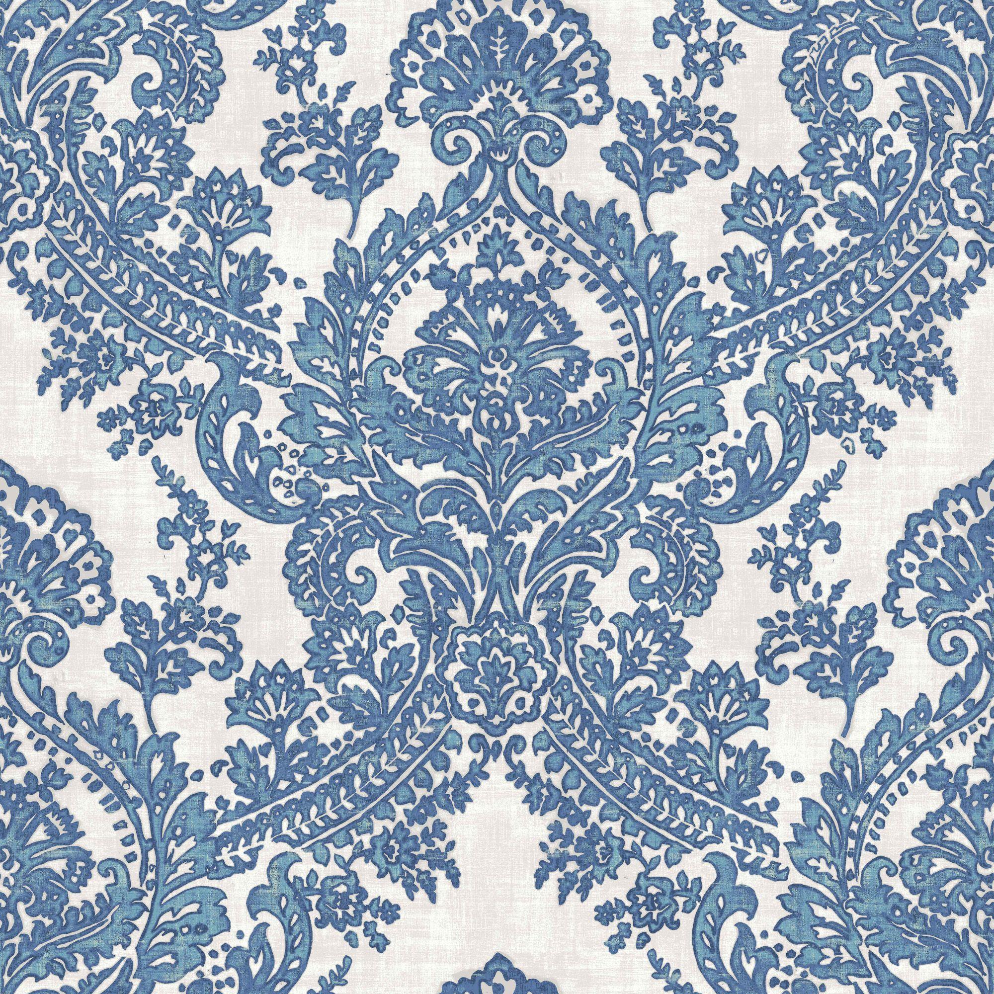 Batik Blue Amp White Damask Glitter Highlight Wallpaper