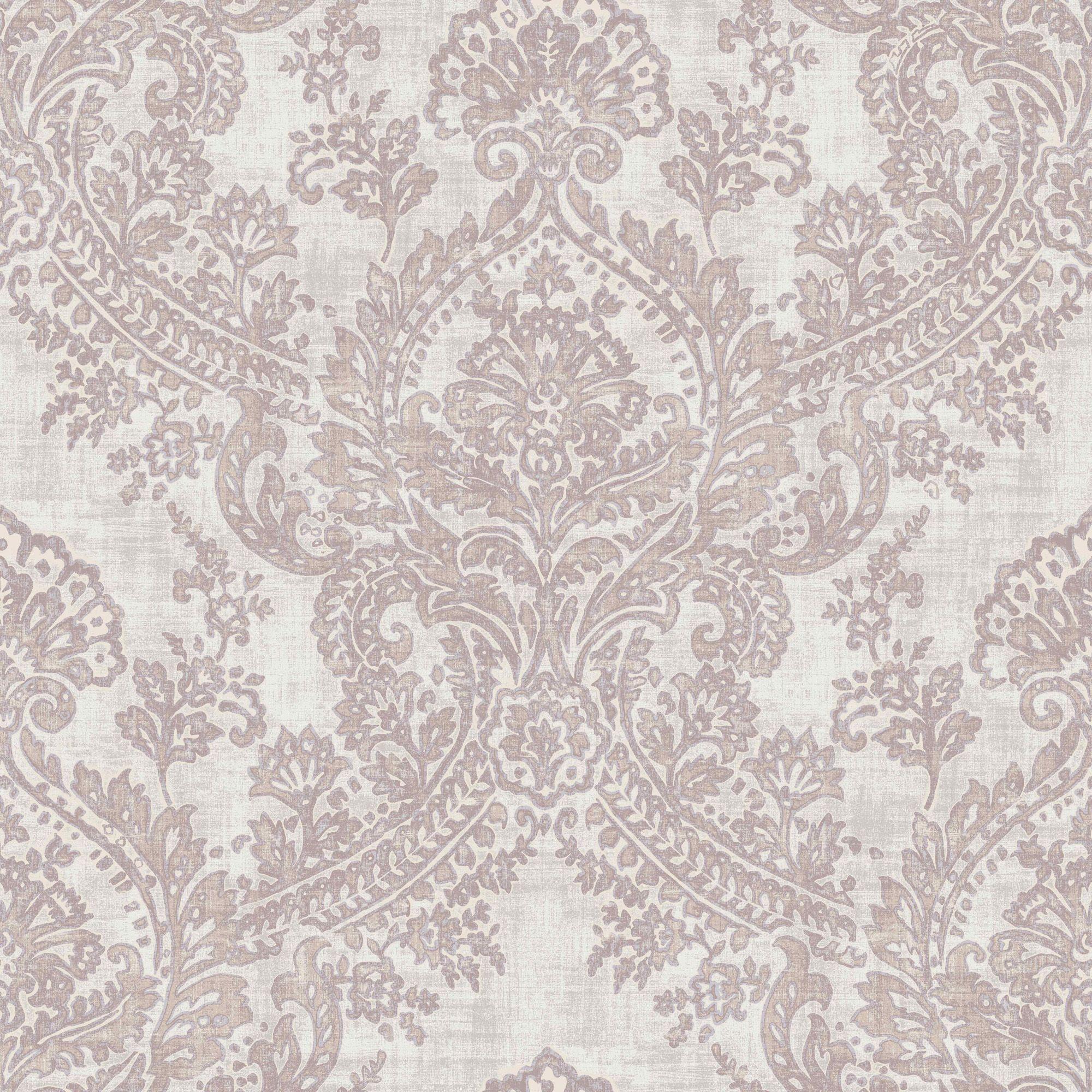 Brown bathroom decorations - Batik Soft Pink Damask Glitter Highlight Wallpaper