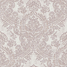 Batik Soft Pink Damask Glitter Highlight Wallpaper