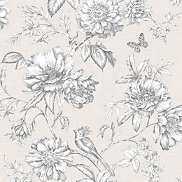 Menagerie Cream & White Floral Embossed Wallpaper