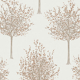 Bloomsbury Cream Forest Glitter Highlight Wallpaper