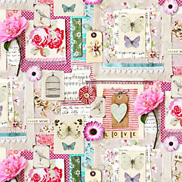 Amelie Floral Collage Flat Wallpaper