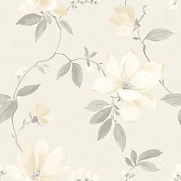 Magnolia Cream Floral Flat Wallpaper