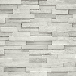 Gold Wood Block White Faux Wall Wallpaper