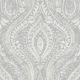 Gold Anoushka Grey Damask Sheen Wallpaper