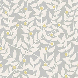 Ideco Home Ola Grey Leaf Mica Wallpaper