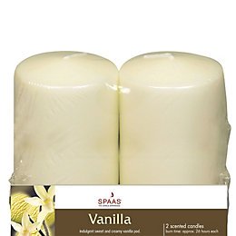 Vanilla Pillar Candle Small, Pack of 2