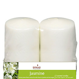 Jasmine Pillar Candle Small, Pack of 2