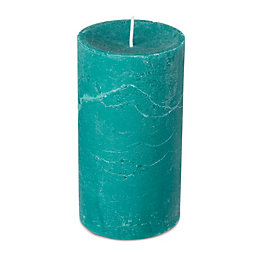Spaas Rustic Dark Sea Mist Teal Pillar Candle