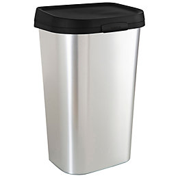 Curver Mistral Chrome Effect Plastic Rectangular Kitchen Bin,