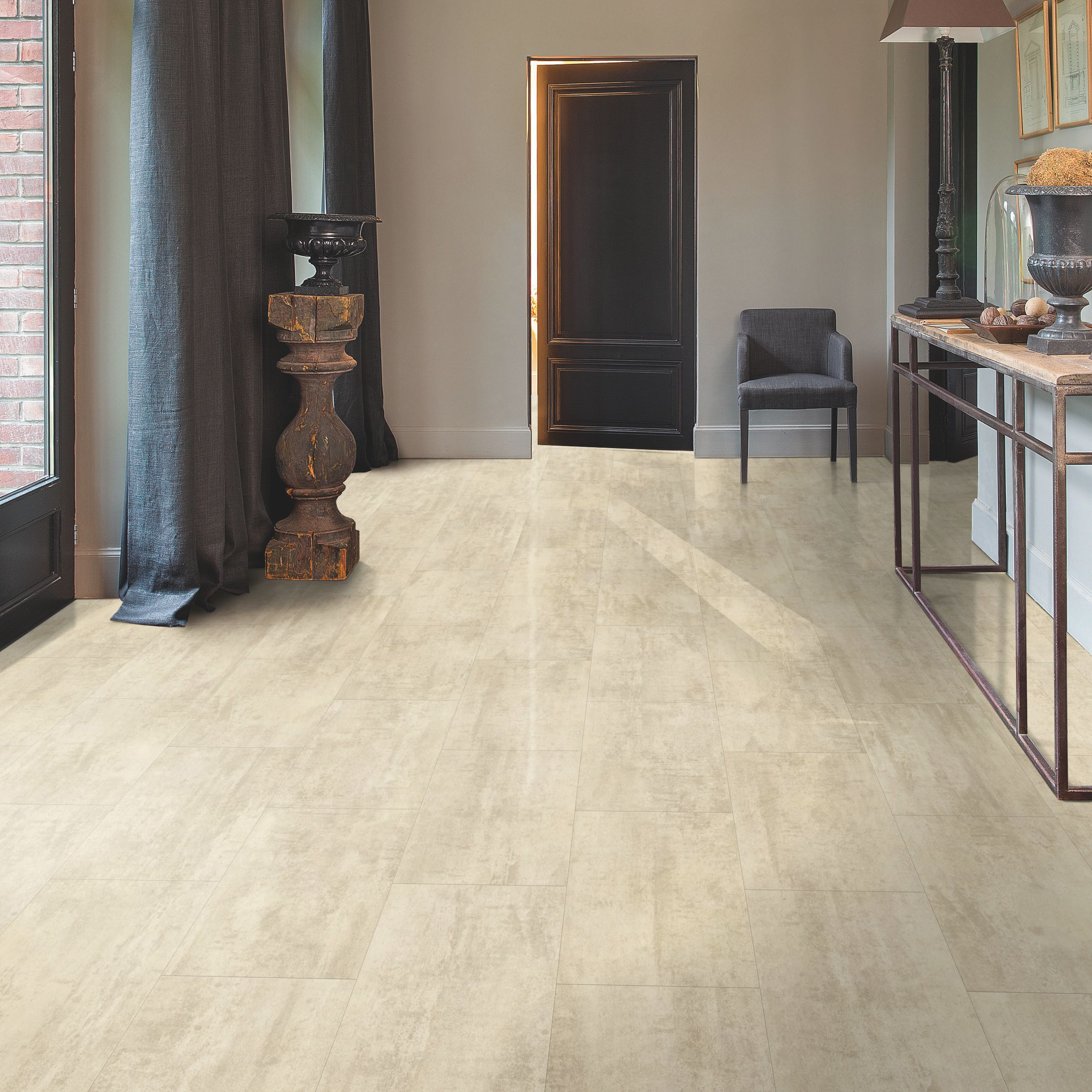 Quick step lima beige travertine effect waterproof luxury for Quickstep kitchen flooring