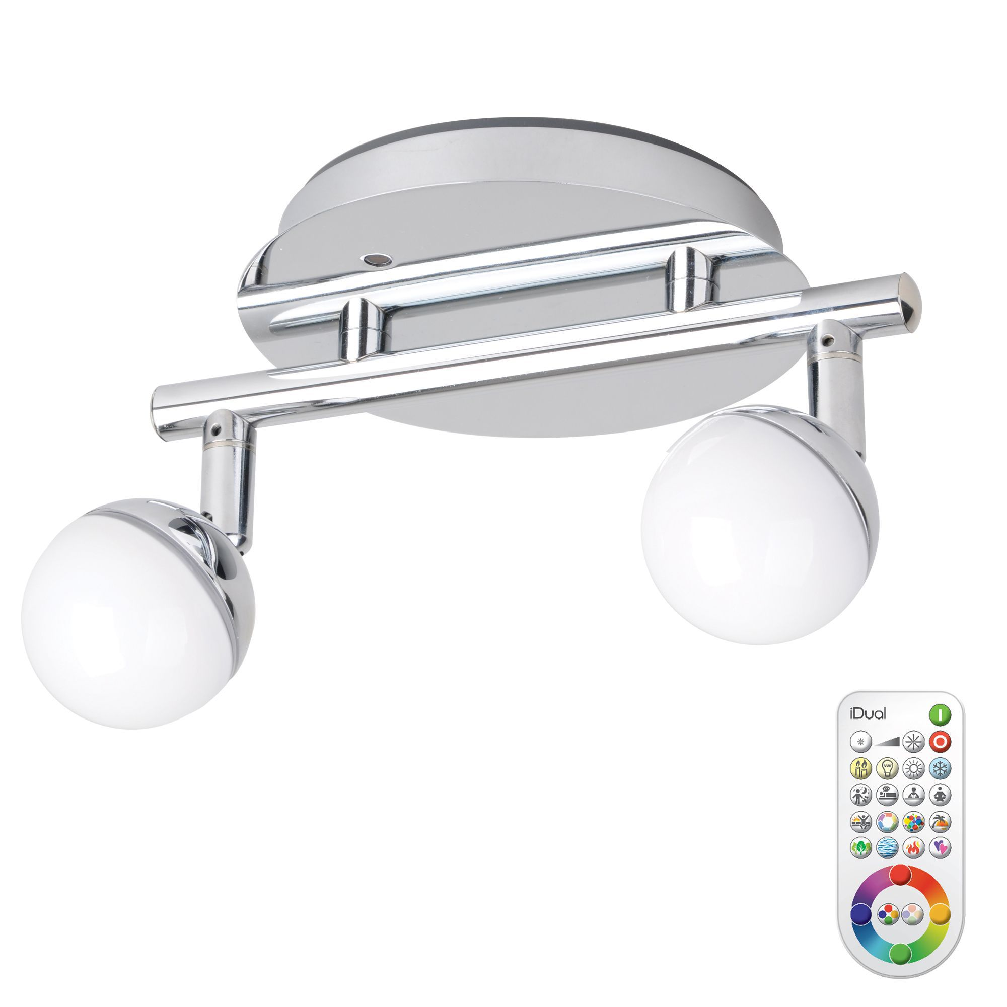 Idual Olivine Chrome Effect 2 Lamp Spotlight With Remote