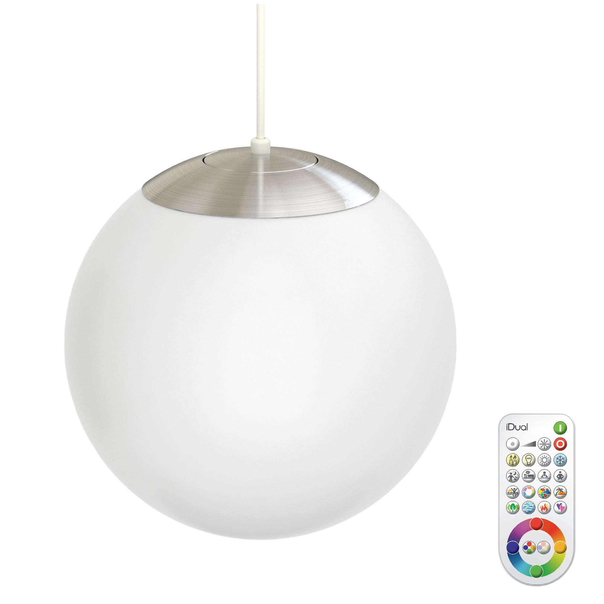 Idual Selena White Frosted Glass Ceiling Pendant With Remote