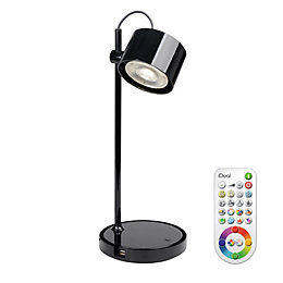 Idual Jasmine Black Gloss Table Lamp with Remote