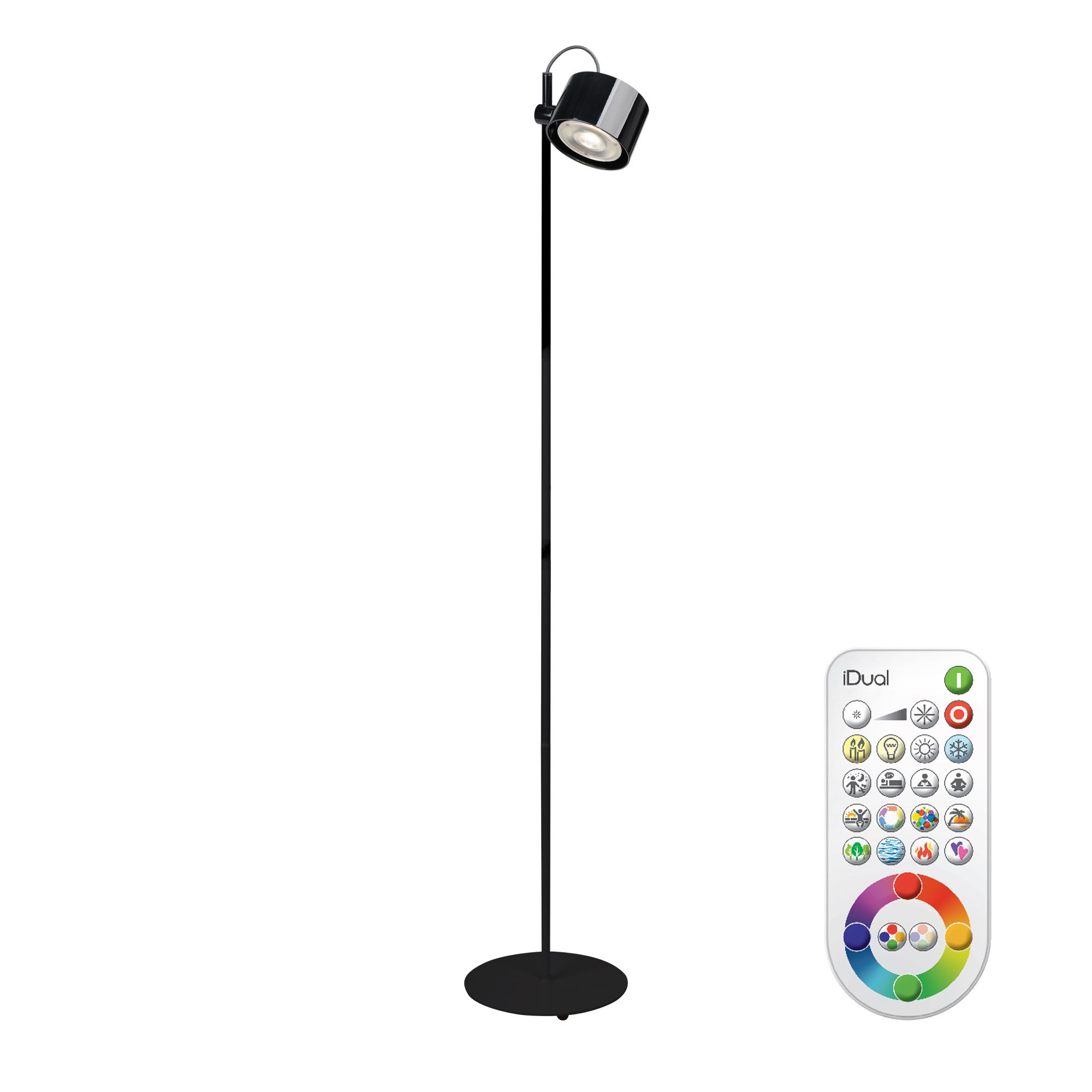 idual jasmine black gloss floor lamp with remote. Black Bedroom Furniture Sets. Home Design Ideas