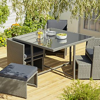 Karaya rattan-effect four seater dining set