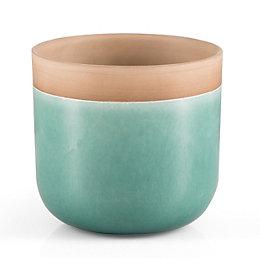 Round Glazed Terracotta Aqua Painted Plant Pot (H)17.6cm