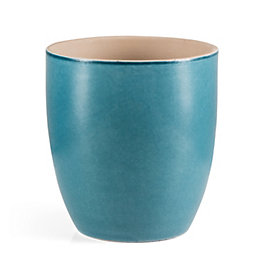 Round Glazed Terracotta Blue Painted Plant Pot (H)24cm