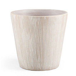 Round Glazed Terracotta Grey Painted Plant Pot (H)22cm