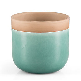Round Glazed Terracotta Aqua Painted Plant Pot (H)21.3cm