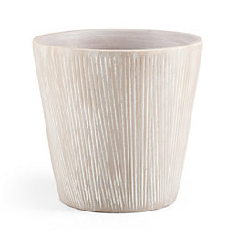 Round Glazed Terracotta Grey Painted Plant Pot (H)285mm