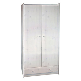 White Wash 2 Door 1 Drawer Wardrobe (H)1.8