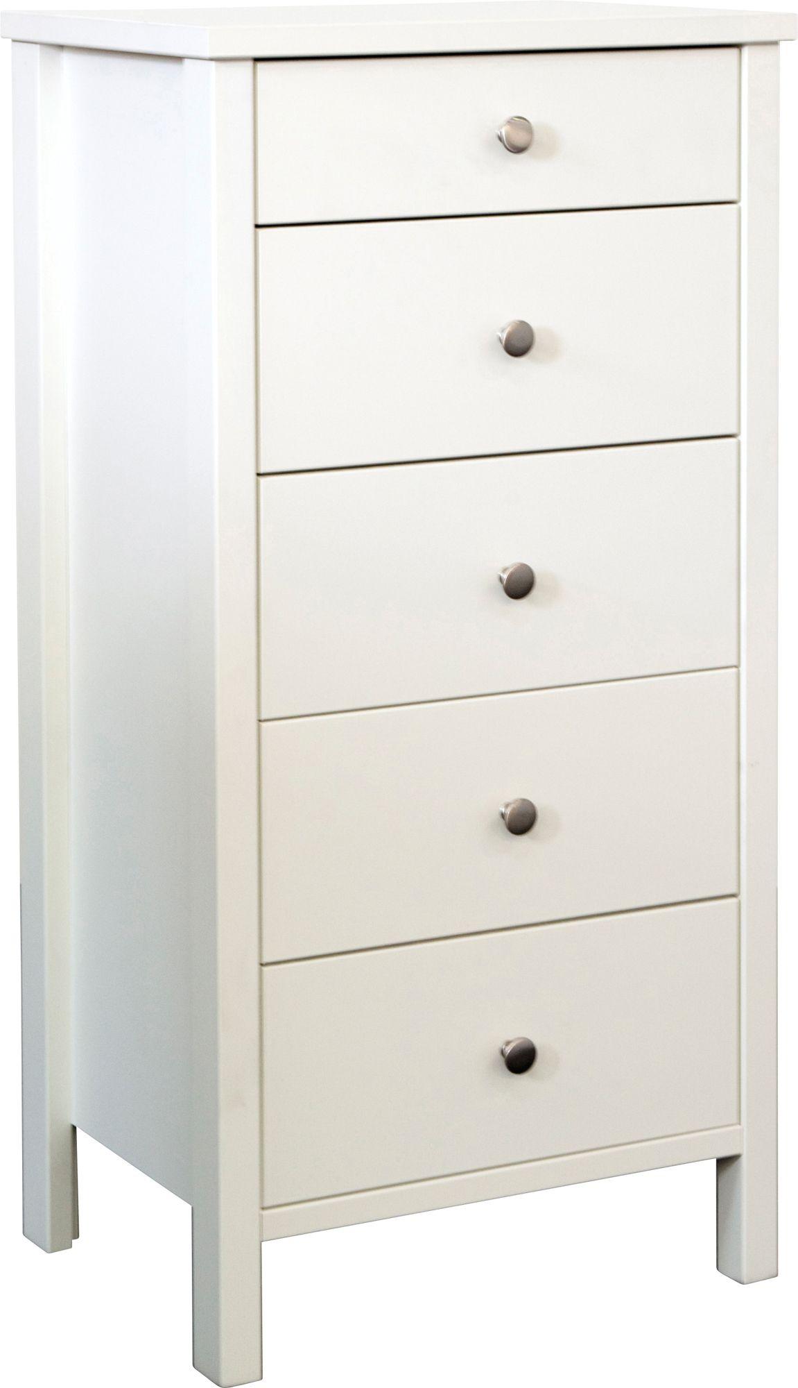 Bergen White 5 Drawer Chest (h)1058mm (w)530mm (d)410mm