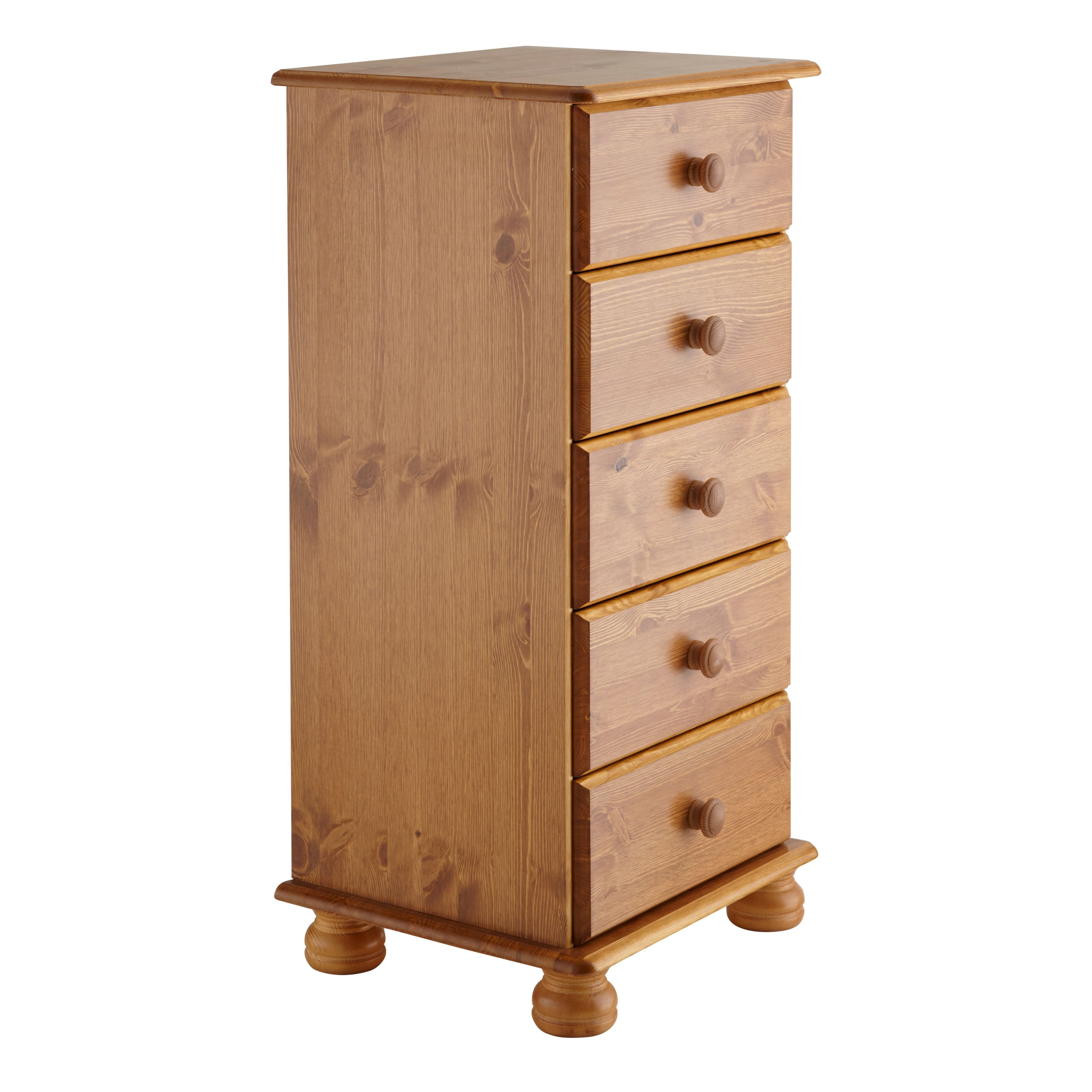 Malmo Stained Pine 5 Drawer Chest (h)901mm (w)441mm (d)383mm