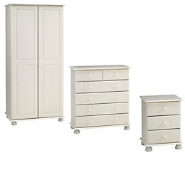 Malmo White Bedside Table, 6 Drawer Chest &