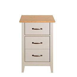 Westwick Putty Grey & Oak Effect Bedside Table