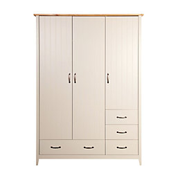Steens Westwick Putty Grey & Oak Effect Wardrobe