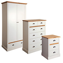 Hemsworth Cream & Oak Effect 3 Piece Bedroom
