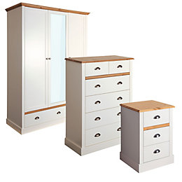 Hemsworth Cream & Pine Effect Triple Wardrobe 3
